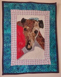 Portrait quilt of my heart greyhound, Rocky. Check out this item in my Etsy shop https://www.etsy.com/listing/526629469/dog-quilt-portrait-of-sweet-senior