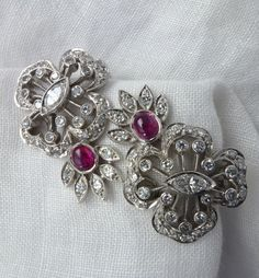 Vintage Art Deco Ruby and Diamond 14kt White Gold Clip Earrings by RomanceVintageJewels on Etsy