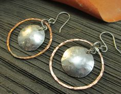 Mixed Metal Copper & Sterling Silver Dangle by TNineDesign on Etsy