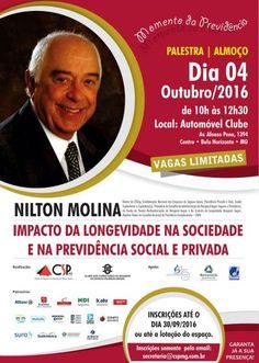 """""""Impacto da longevidade na sociedade e na Previdência Social e Privada"""".  Esse é o tema do almoço palestra que o Clube de Seguros de Pessoas de Minas Gerais (CSP-MG) e o Clube dos Corretores"""