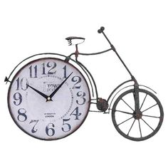 "Distressed metal bicycle-shaped wall clock.  Product: Table clockConstruction Material: Metal alloyColor: BrownFeatures: Bicycle motifAccommodates: Batteries - not includedDimensions: 12"" H x 17"" W x 1"" D"