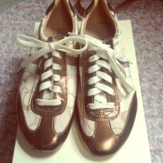 Coach Sneakers Worn Once, bought a couple months ago. Look cute with jeans! Coach Shoes Sneakers