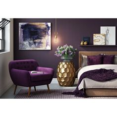 Wrought Studio Stylish, clutter free living is made easy in the bedroom with this contemporary ottoman. Comfort, storage and eye-catching design in perfect harmony, presented in a soft fabric tones. Jewel Tone Bedroom, Purple Master Bedroom, Purple Bedroom Decor, Gold Bedroom, Bedroom Colors, Royal Purple Bedrooms, Purple Bedroom Accents, Romantic Purple Bedroom, Purple Accent Walls