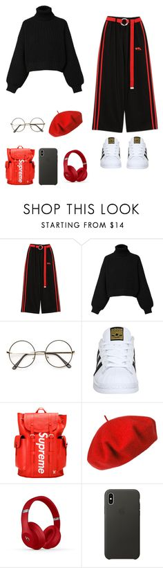 """""""i don't know what to call this"""" by thesleepingyoongi ❤ liked on Polyvore featuring Diesel, adidas, Betmar and Apple"""