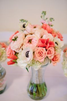 Coral Peony and Anemone Bouquet