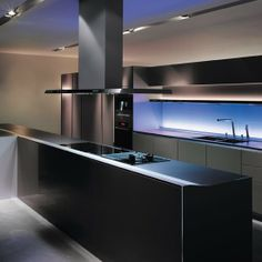 SieMatic's chromotherapy lighting can be set to one shade or rotate through the colour spectrum.