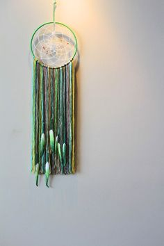 Dream Catcher GREEN Painted feathers BOHO by ByAdeline on Etsy