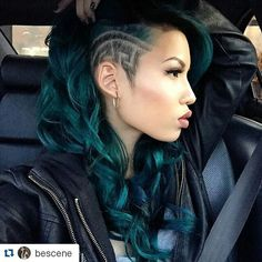 Loving the #greenhair #haircolor #longhair #fadedsides #flawless #makeup #hairstylists #creativecutsclothing