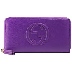 Gucci Soho Leather Zip-Around Wallet ($580) ❤ liked on Polyvore featuring women's fashion, bags, wallets, purple, leather zip around wallet, 100 leather wallet, zip-around wallet, purple leather wallet and gucci