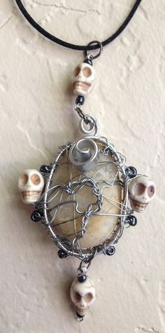 For the Love of Supernatural Necklace Skulls Silver by Eldwenne, $40.00