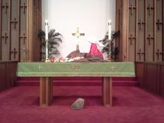 "Altar for May 18, 2014, at MUMC for sermon entitled, ""Move To Forgive,"" referencing Acts 7:55-60"