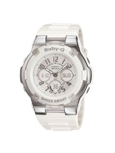 Casio Women's BGA110-7B Baby-G Shock Resistant White Analog Sport Watch - http://dressfitme.com/casio-womens-bga110-7b-baby-g-shock-resistant-white-analog-sport-watch/