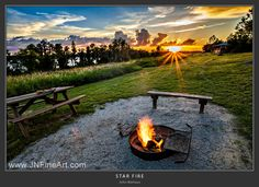 The end of a beautiful day. The setting of the sun gives way to the lighting of the fire. Warm summer night + warm fire + cold beverage = joy. Prints available at www.JNFineArt.com