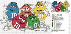 M & m cross stitch Cross Stitch Kitchen, Cross Stitch For Kids, Cross Stitch Love, Counted Cross Stitch Patterns, Cross Stitch Charts, Cross Stitch Designs, Cross Stitch Embroidery, Embroidery Patterns, Stitch Character
