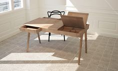 Metis is a compact desk made of solid wood, offering a real storage solution. This table helps you to keep your workspace tidy and organized with three drawers, one secret compartment and two hidded sections.