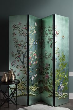 Living | Use it to create a separate area or to add a statement piece to your living space; our GLORA floor screen is very versatile with its hand-painted flowers on both sides.