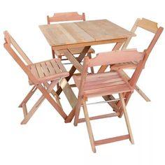 Mesa Bar Dobrável 70x70 C/4 Cadeiras, Madeira Maciça Crua - R$ 318,60