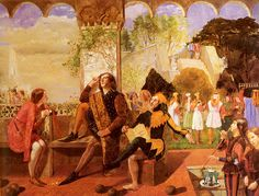 """""""TWELFTH NIGHT ACT II, SCENE IV"""" by Walter Deverell (1827-1854). According to Franny Moyle Elizabeth Siddal was the model for Viola, dressed in boys' clothing as the page on the left;  Deverell was the model for the figure of Orsino in the center; and Dante Gabriel Rosetti was the model for the jester.  Siddal's exposed legs were considered shocking at the time, even though her character in the painting was dressed as a boy."""