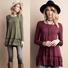 🆕LIZBETH ruffle long sleeve top - OLIVE/DEEP PLUM LONG SLEEVE ROUND NECK, SOFT HEAVY RAYON SPAN RUFFLE TUNIC, CAN BE WORN UNDER A TOP AS A LAYERED LOOK. Available in OLive & deep plum. Super soft & versatile. 🚨NO TRADE, PRICE FIRM🚨 Bellanblue Tops Tees - Long Sleeve