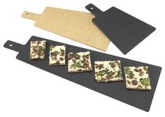 Serve flat breads, pizzas, appetizers, sliced breads, & much more on these serving and display boards. You can bake on these & take them directly from the oven to a table.