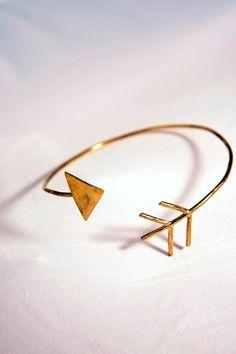 Arrow Bangle Bracelet Goldplated Brass by CreationsAboveTheSun, €18.00