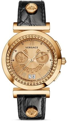 Versace Vanity Chronograph Round Rose Gold Pvd Watch with Golden Sunray Dial 40mm in Gold