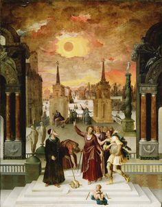 Dionysius the Areopagite Converting the Pagan Philosophers by Antoine Caron  1570s  oil on panel  Getty Museum