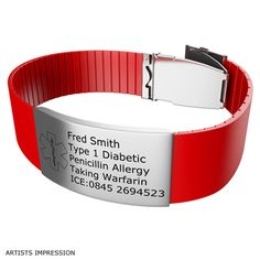 Red Medical Bracelet With Clasp Id Bracelets Information Rubber