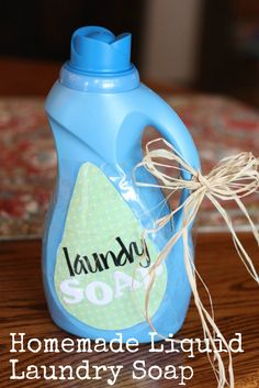 This homemade liquid laundry soap is so much cheaper than traditional laundry detergent and you know every ingredient that is used since you are making it!