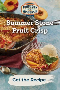 Bubbly filling, golden streusel topping, and full of cheese. Taste summer like never before with this fruit crisp recipe. Canning Recipes, Meat Recipes, Crockpot Recipes, Fruit Crisp Recipe, Wisconsin Cheese, Creative Desserts, Cheese Lover, Streusel Topping, Good Food