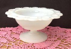 White Compote Milkglass Compote Milkglass Candy by PinkHenStudio