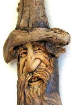 Easy Wood Carving Ideas | Original wood spirit carving hobbit gnome elf fantasy forest ooak ...