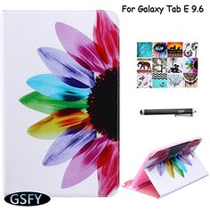 Galaxy Tab E 96 Case Newshine Book Style Leather  Silicone Bumper Flip Folio Stand Cover Built in CardCash Slots for Samsung Galaxy Tab E 96 2015 NOT FIT FOR TAB E NOOK 96 3 Colorful Petals ** Check out the image by visiting the link.