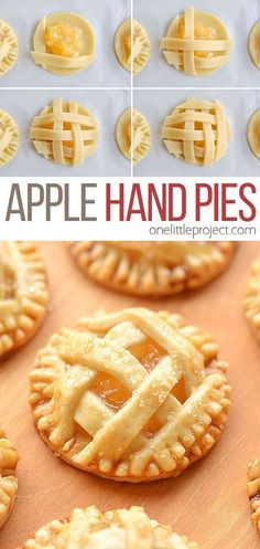 These mini apple pies are SO GOOD! There's nothing like warm apple pie, with a delicious flaky crust and that gooey, sweet apple filling. These delicious fall treats will disappear fast! Mini Desserts, Apple Dessert Recipes, Fall Desserts, Apple Recipes, Delicious Desserts, Fall Recipes, Mini Pie Recipes, Pastry Recipes, Apple Hand Pies
