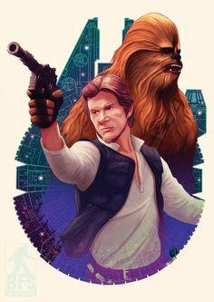 Star Wars: Han Solo & Chewbacca by Big Foot Studios Star Wars Rebels, Star Trek, Saga, Han Solo And Chewbacca, Episode Iv, Star Wars Pictures, Pop Culture Art, Star Wars Fan Art, Star War 3