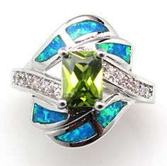 Blue Fire Opal Inlay Green Peridot 925 Sterling Silver Ring Size US 7 NWT #SolitairewithAccents
