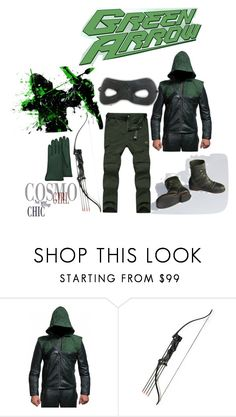 """Green Arrow Costume"" by blackleatherjackets ❤ liked on Polyvore featuring Forzieri"
