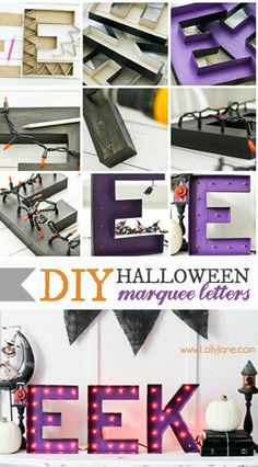 DIY Halloween Marquee Letters by LollyJane - awesome Halloween decorations!
