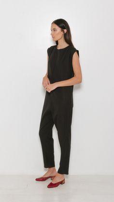 Base Range Zarba Jumpsuit in Silk Wool Black | The Dreslyn