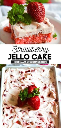 45 minutes · Serves 12 · *NEW* Sweet and pink, this strawberry jello cake is the key to a successful summer party! Kids & adults flip for it, and you'll love that it takes 45 mins to make. #strawberrycake #strawberryjellocake… Strawberry Jello Cake, Strawberry Desserts, Frozen Desserts, Summer Desserts, Easy Desserts, Delicious Desserts, Best Cake Recipes, Cupcake Recipes, Sweet Recipes