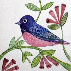 Purple Pink Bird / Original Art / Watercolor by sublimecolors, $35.99