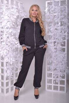 e7f82362 Женский спортивный костюм на манжетах бомбер+брюки черный, 54-56