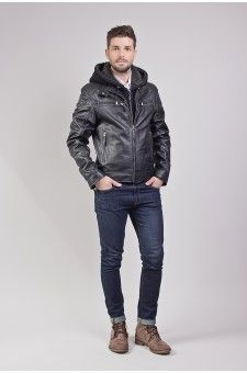 Blouson cuir avec capuche noir homme http://www.prestigecuir.fr