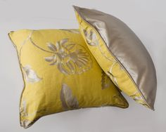 """Luxurious Floral Embroidered Cushion with co-ordinating satin piping and cushion back. 18"""" x 18"""" available from Conu Interior Design www.conbudesign.com"""
