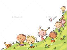 Buy Happy Cartoon Kids Running by katya_dav on GraphicRiver. Happy cartoon kids running, vector frame with a copy space, colorful Happy Cartoon, Cartoon Pics, Cute Cartoon, Happy Pictures, Cute Pictures, Drawing For Kids, Art For Kids, Running Cartoon, Dibujos Cute