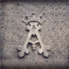 Ornate cement A with crown on @Glyphosaurus. More of the amazing alphabet on our Insta: https://instagram.com/extensis/   #letterA #A #typeeverywhere #ornate #glyphosaurus #typography