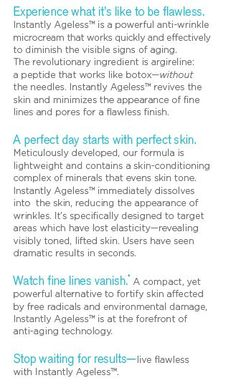 Directions Instantly Ageless Look 10 - 15 years younger in just 2 minutes. Works on everyone. Watch a live 2 minute demonstration. 30 day money back guarantee. Look Younger, Anti Wrinkle, 15 Years, Revolutionaries, What Is Like, It Works, Money, Shit Happens, Watch