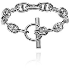 Hermès Chaine D'Ancre Silver Bracelet (2,515 BAM) ❤ liked on Polyvore featuring jewelry, bracelets, silver jewellery, silver fine jewelry, chains jewelry, silver jewelry and anchor jewelry