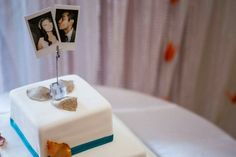 Our cake was green tea flavoured with lemon ginger icing! Our topper was 2 mini Polaroids one of my bridesmaids took of us right before the reception! My husband is kissing my cheek :) #caketopper #polaroid #greenteacake #weddingcake