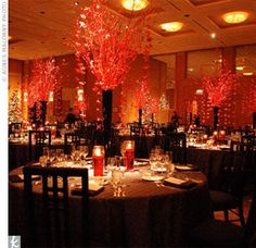 Love the red centerpieces Red Wedding Decorations, Reception Decorations, Event Decor, Red Centerpieces, Tall Centerpiece, Asian Inspired Wedding, Cherry Blossom Wedding, Cherry Blossoms, Japanese Wedding